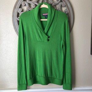 Vineyard Vines wool Shawl collar  green sweater